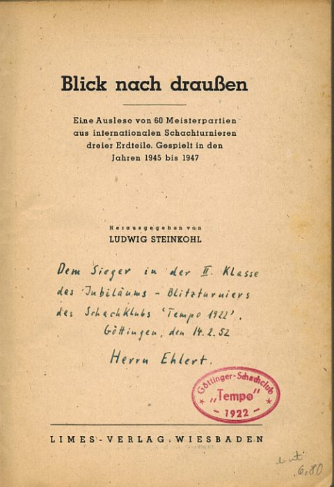 Ein Buchpreis aus dem Jubiläumsblitzturnier von Tempo Göttingen 1952 2