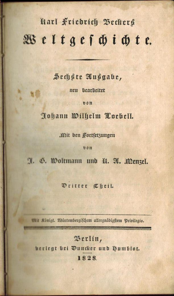 """""""Hermann der Cherusker"""" in der Weltgeschichte von Karl Friedrich Becker (1828) 1"""