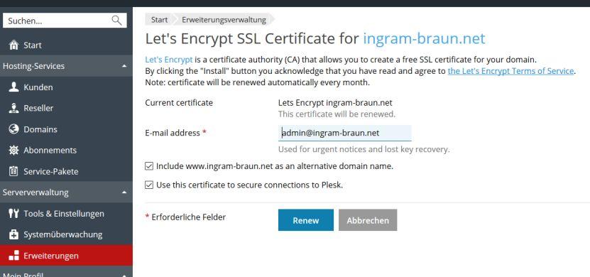 Kostenlose TLS-Zertifikate in Plesk: Let's Encrypt statt StartSSL 2