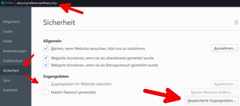 Deaktivieren der Paßwortspeicherung in verschiedenen Browsern 3