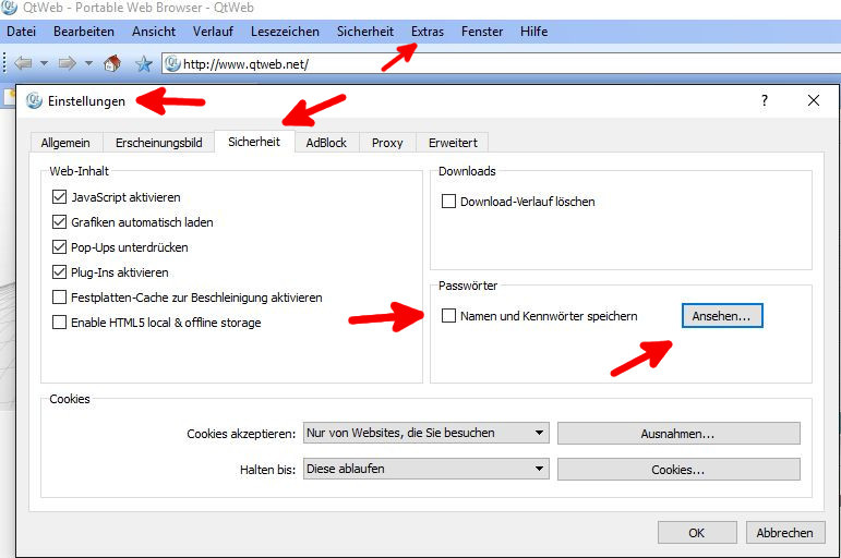 Deaktivieren der Paßwortspeicherung in verschiedenen Browsern 2