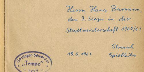 Ein Autograph des Spielleiters Strauch von Tempo Göttingen 1961 2