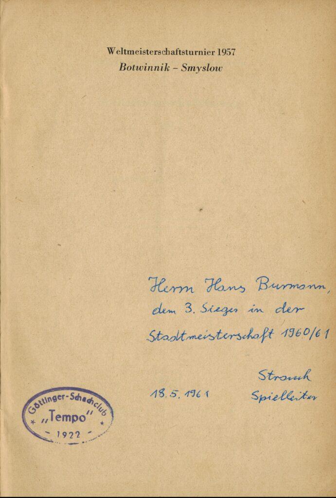 Ein Autograph des Spielleiters Strauch von Tempo Göttingen 1961 1