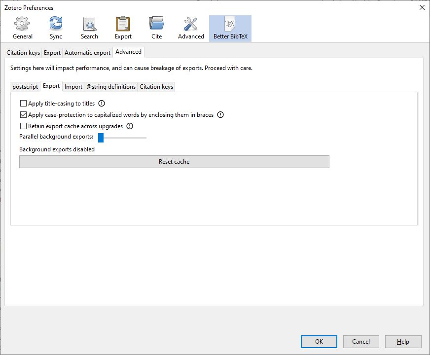 Zotero Better BibTeX extension advanced export preferences screenshot