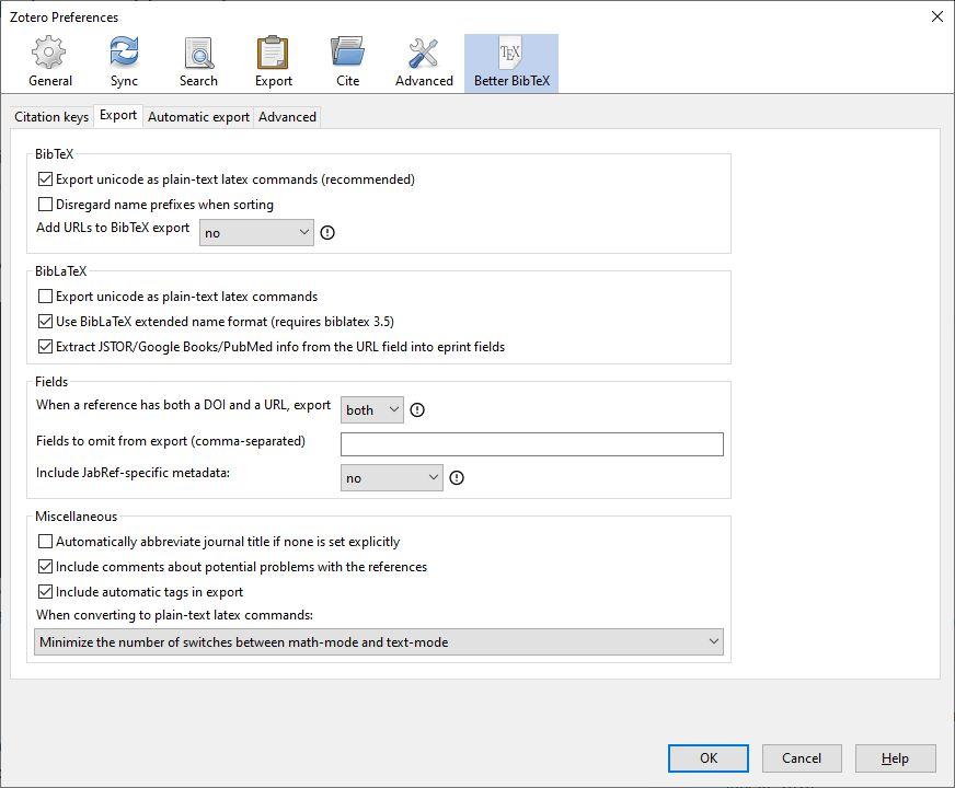 Zotero Better BibTeΧ export preferences screenshot